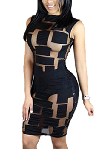 AVINE Women's Sexy Mesh See Through Bodycon Clubwear Dress