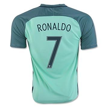 Camiseta de Cristiano Ronaldo 7 de Portugal, Eurocopa 2016 - 2017, color azul, hombre, azul, mediano: Amazon.es: Deportes y aire libre