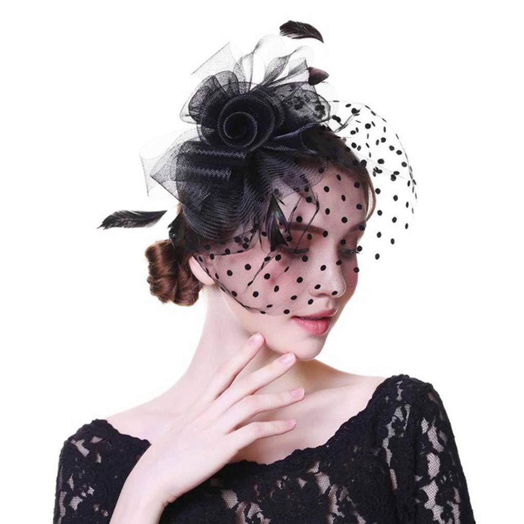 HappyShopDecoration Fascinator Hat for Women Feathers Linen Hat with Veil Ladies Flower Bridal Cap