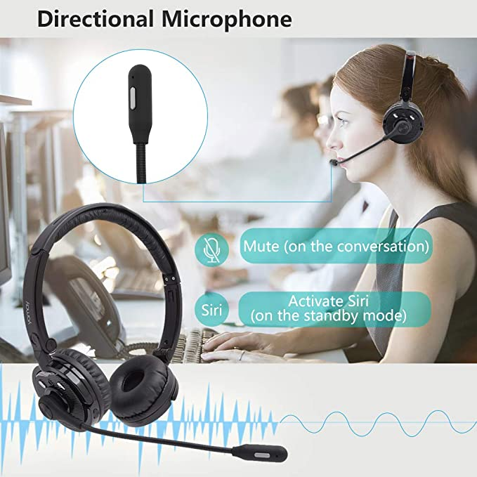 Bluetooth Headset Mute Button 30hrs Clear Talk Time Pro For Car Truck Driver Business Home Office