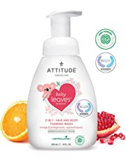ATTITUDE Baby Leaves, Hypoallergenic 2 in 1 Shampoo & Body Foaming Wash, Orange & Pomegranate, 10 Fluid Ounce