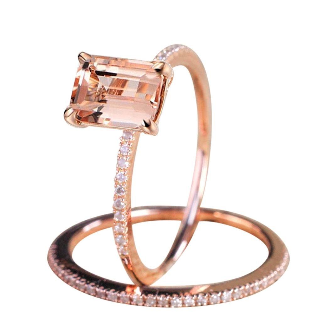 Lethez Clearance 2PCS Rose Gold Small Square Zircon Rhinestone Band Ring Engagement Wedding Jewelry (Rose Gold, 10)