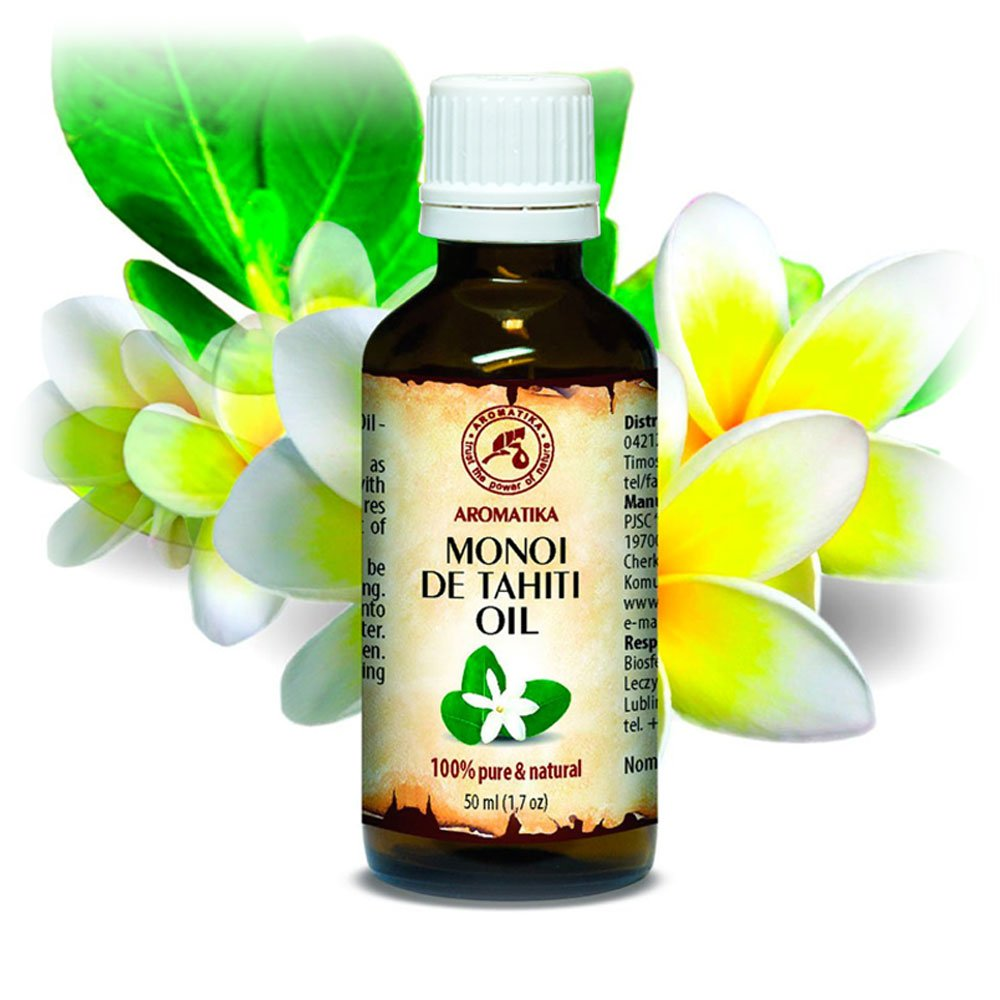Olio di Monoi di Tahiti 50ml - 100% Naturale e Puro - Bottiglia di Vetro - Olio per Il Corpo - Cura Intensiva per Viso - Corpo - Capelli - Pelle - Mani - uso Puro - Ottimo con Olio Essenziale per Bellezza - Aromaterapia - Relax - Massaggi - Cura del Corpo
