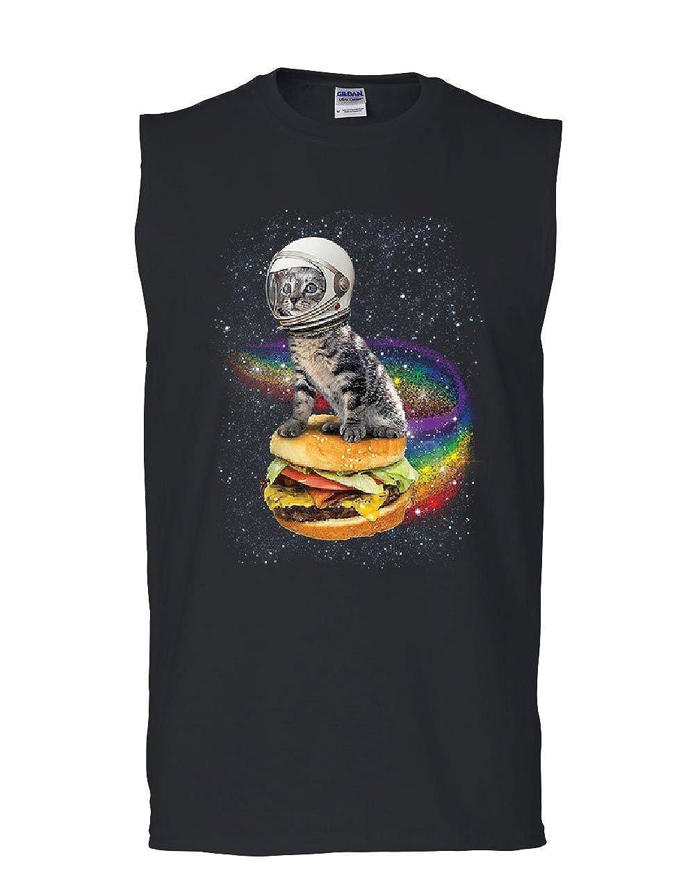 Cat Flying a Rainbow Burger Muscle Shirt Funny Astronaut Kitten Space Sleeveless