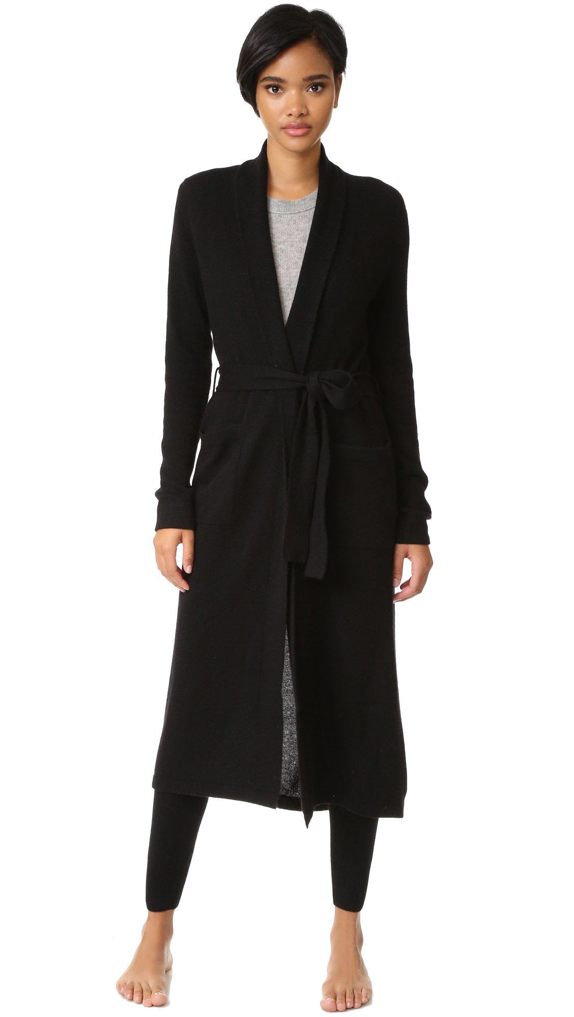 White + Warren Women's Luxe Cashmere Robe, Black, Large