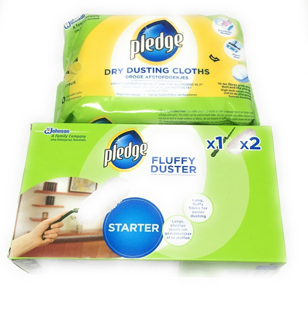 Pledge Fluffy Duster Starter Pack + Dry Dusting Cloths LaeanM