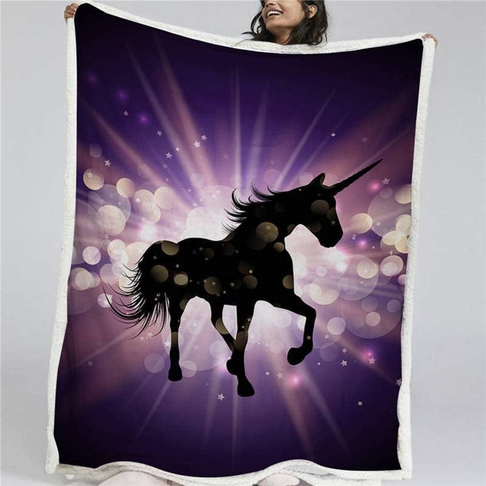 Nologo Manta de unicornio hada sherpa, manta de castillo de las maravillas, colcha de animales florales, soñador, fina, JFCUICAN, polar, 5, 150cmx200cm