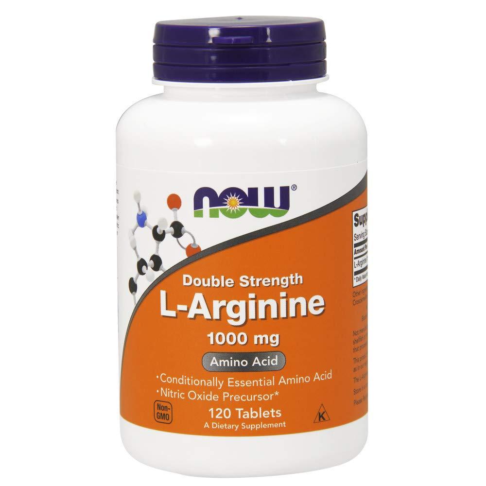 NOW Foods L-arginine 1000mg, 120 Tablets 2 Pack