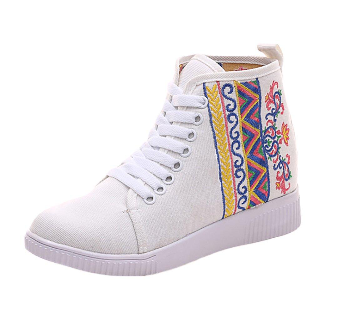 Insun Zapatos de Cordones Para Mujer Alpargatas de Mujer con Bordado 36 EU|Blanco