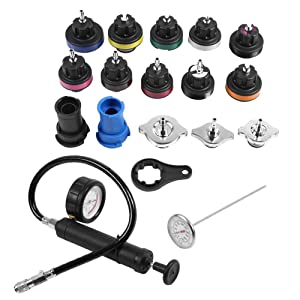Terisass Water Tank Leak Detector Kit, 18 Pcs Universal Car Cooling System Tester Radiator Sets Automotive Diagnostic & Test Tool Sets with PC Material