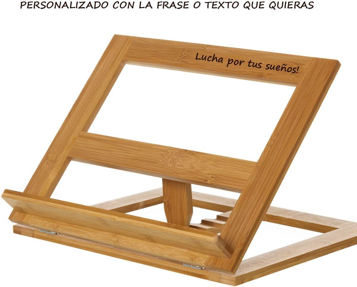 Atril soporte para libros de madera bambú PERSONALIZADO con el ...