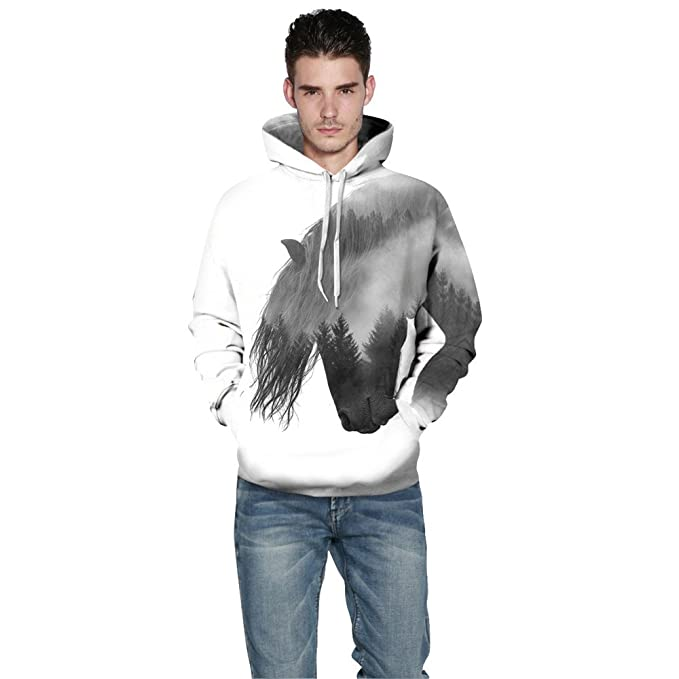 MSYI Unisex Pullover 3D Print Forest Tree Horse Casual Tops with Cap White Hooded at Amazon Mens Clothing store:
