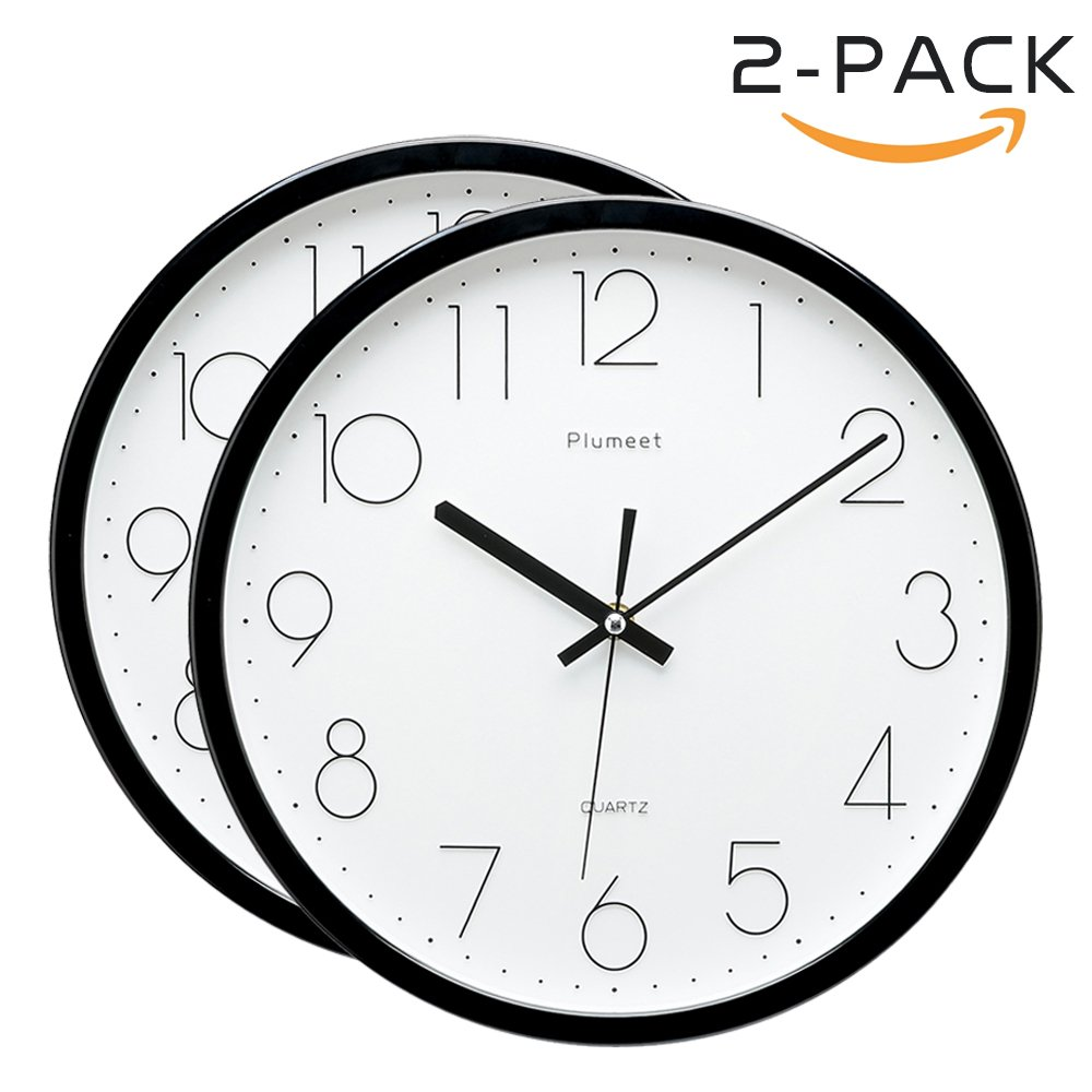 Plumeet 12-Inch Non-Ticking Silent Wall Clock with Modern and Nice Design for Living Room Large Kitchen Wall Clock Battery Operated (Black) Elemall EM-8012-BL