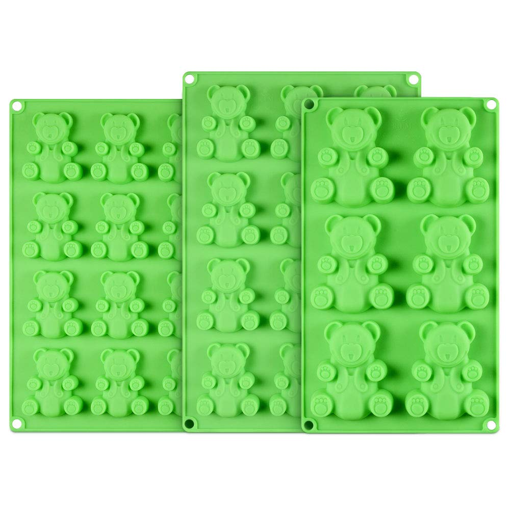 Jumbo Gummy Bear Candy Molds - 3 Sized Giant Gummy Mold for Making Candy, Cookie, Soap, Bath Bombs, Vitamins, Dog Treats Premium Food Grade Silicone BPA Free with Bonus 2 Silicone Pot Holder Mitts