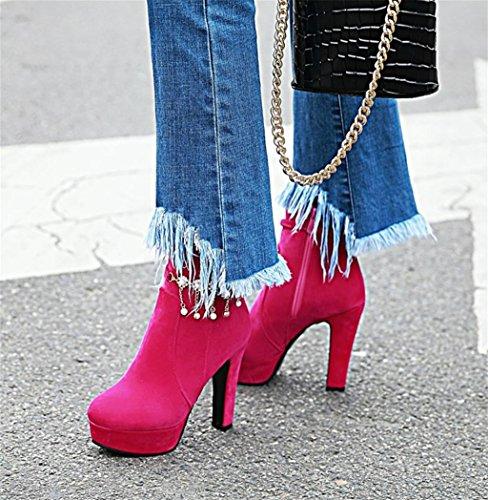 Pierres Chaussures Mode Plate Femmes personnalité Rose Martin Chaussette Chaussures Red Forme Cheville Bottes Perle Stiletto de Talons Élégantes Pompe HETAO Strass Talon qnxPWSOTF