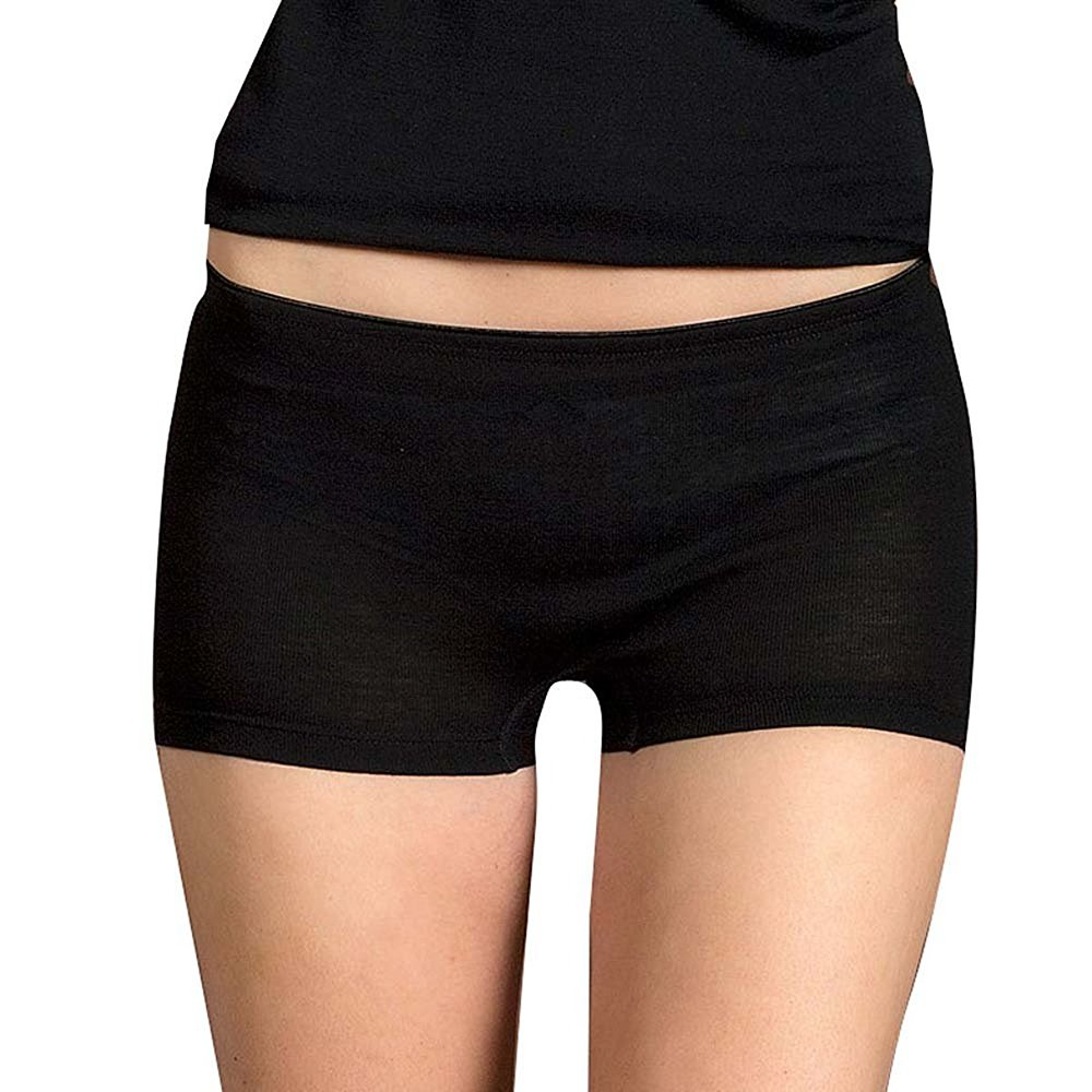 EcoAble Apparel Women's Merino Wool Underwear Boy Shorts Panties, Moisture Wicking (EU 42-44/M, Black)