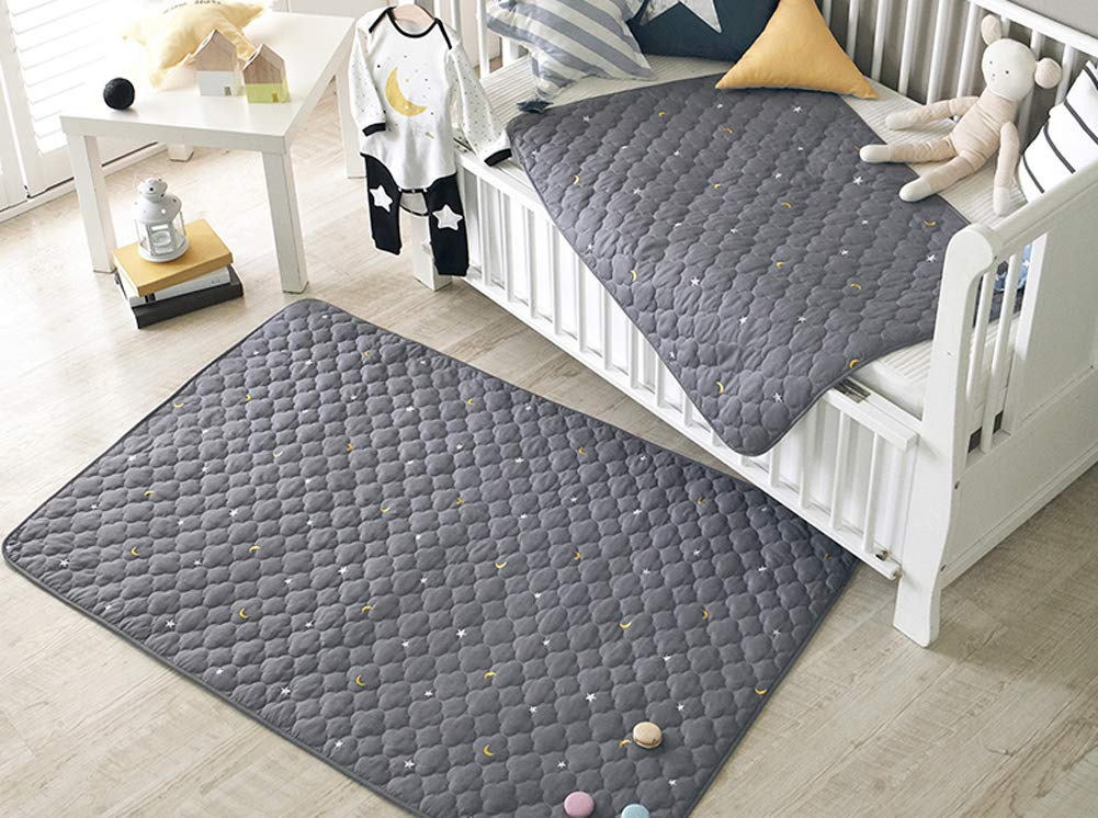 Embroidered Cotton Baby Quilt Blanket Duvet Pad Waterproof Nursery Bed Sheet 2 Size (M)