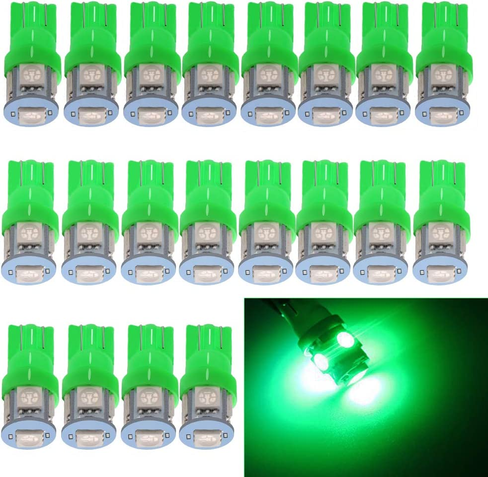 Pack of 10 ANTLINE 194 168 2825 W5W T10 LED Bulbs Green Ultra Bright Error Free 9-SMD 2835 Chipsets 6000K Replacement for Car Interior Dome Map Door Courtesy License Plate Lights
