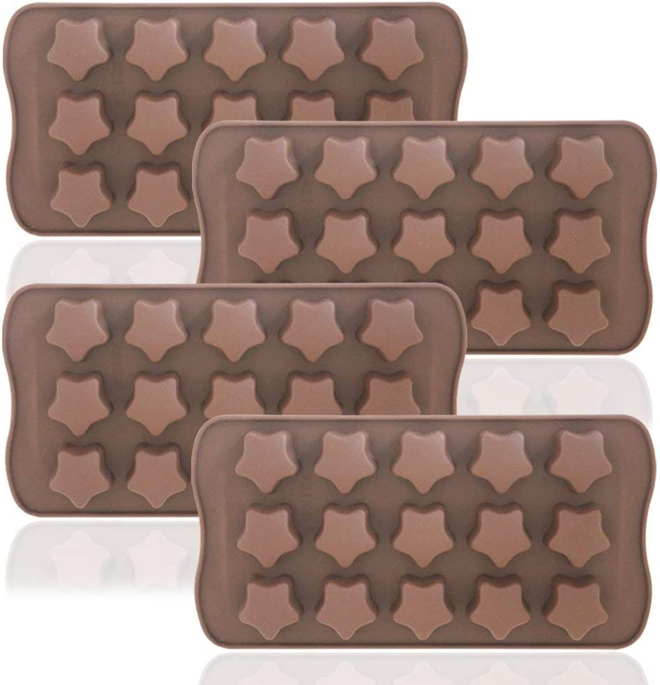 Stars Shaped Ice Tray, DaKuan 4 Packs Flexible Chocolate Molds, Reusable Stars Shaped Candy Making Molds, Food Grade Molds for Chocolate Molds, Homemade Soap - Brown
