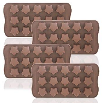 DaKuan - Juego de 4 bandejas de moldes flexibles, reutilizables y de uso alimenticio para chocolate, bombones o jabones caseros con forma de estrellas, ...