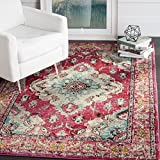 Safavieh Monaco Collection MNC243D Vintage Oriental Bohemian Pink and Multi Distressed Square Area Rug (5′ Square) For Sale