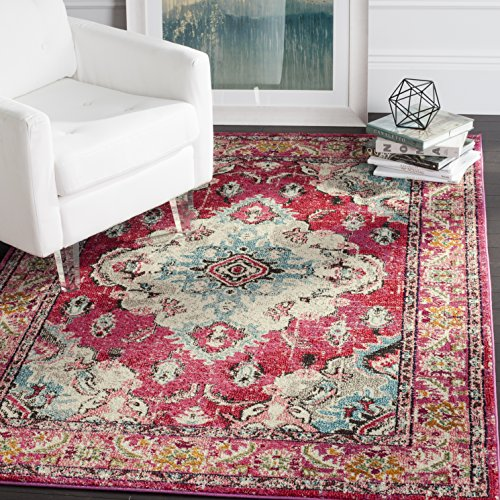 Safavieh Monaco Collection MNC243D Vintage Oriental Bohemian Pink and Multi Distressed Area Rug (8' x 10') - Charcoal Polypropylene Seat