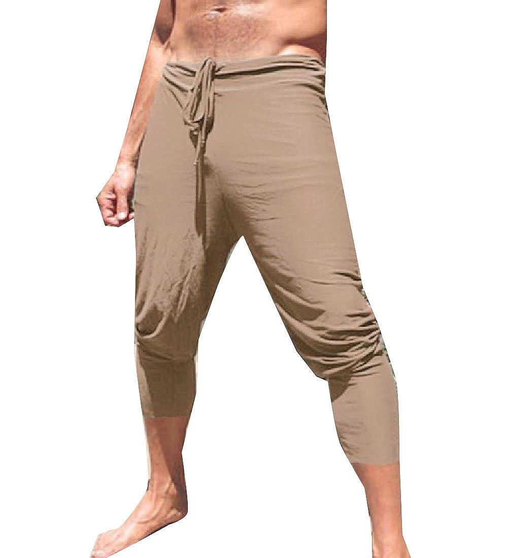 Firheas Mens Drawstring Solid Pockets Summer Fashion 3//4 Casual Pants