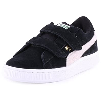 03b27709a71a Puma Suede 2 Strap Kids Kids Suede Trainers Black White - Kids 11   Amazon.co.uk  Shoes   Bags