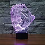 SUPERNIUDB 3D Baseball Gloves Visual Night Light Acrylic 3D LED USB 7 Color Change LED Table Lamp Xmas Toy Gift