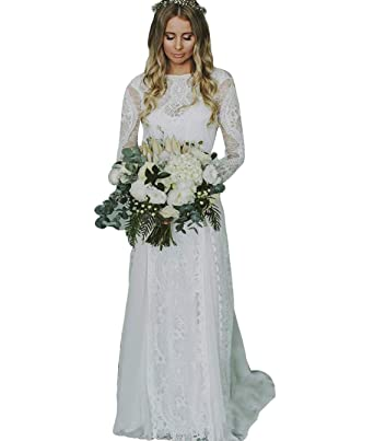 2c90c8d415bce WZW Long Bohemian Wedding Dresses Bridal Gown with Long Sleeve Backless Boho  Wedding Gown Lace Chiffon