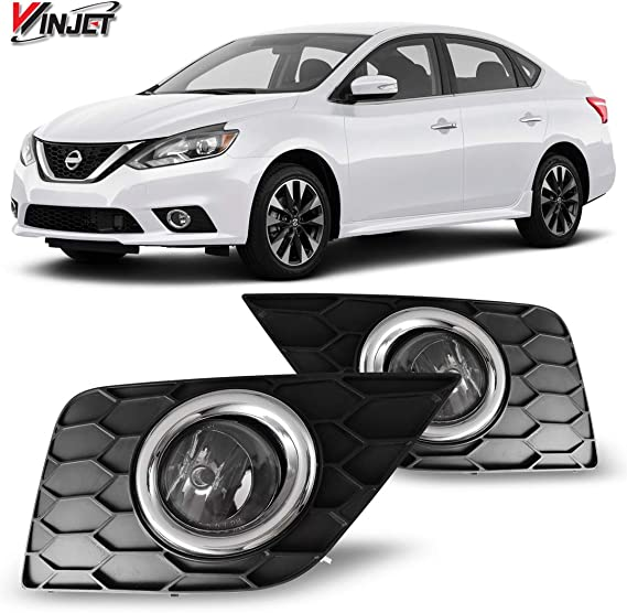 Bulbs For 2016 2017 2018 Nissan Sentra Black Bezel Clear Lens Bumper Driving Fog Light W//Switch