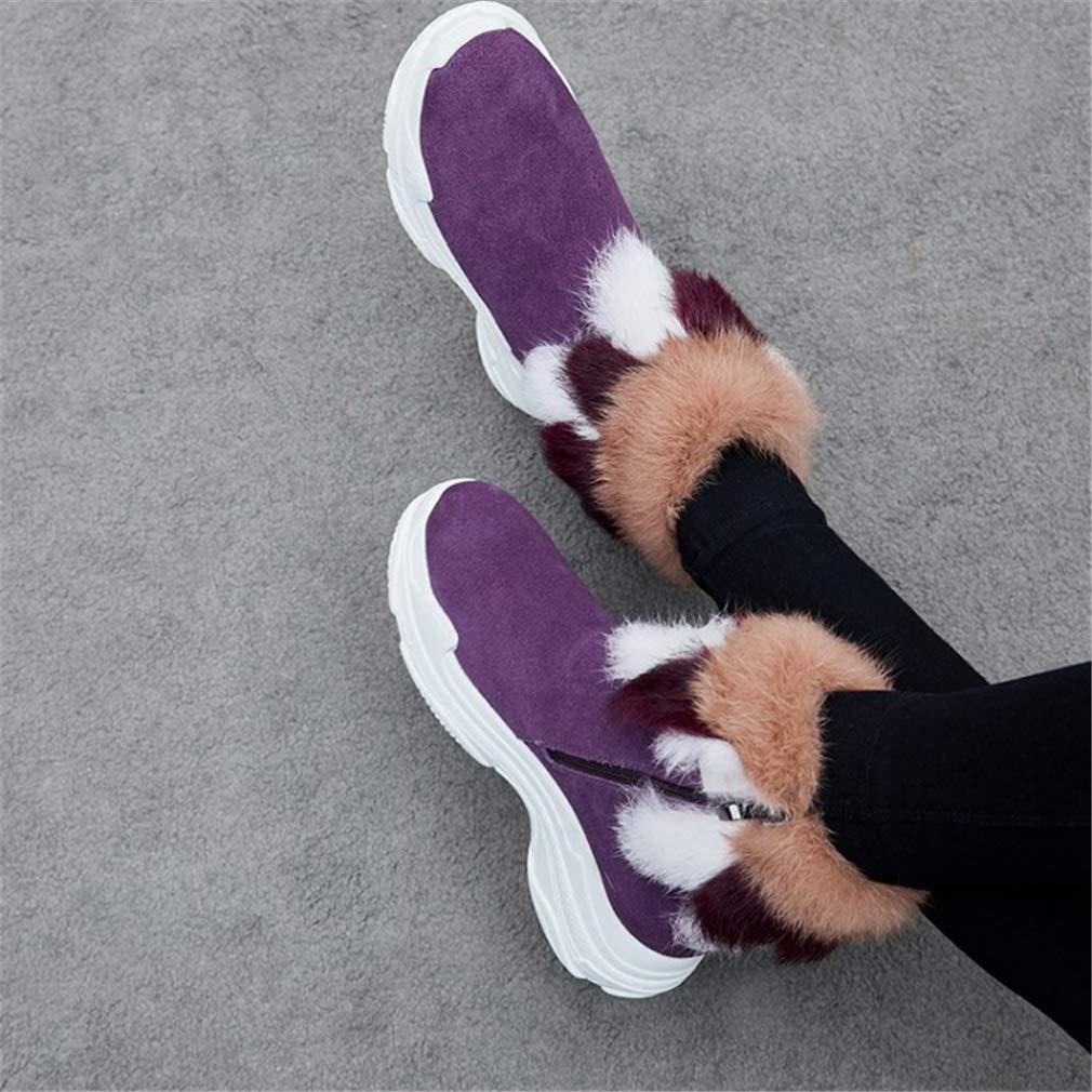 YAN YAN YAN Damenstiefel Wildleder Winter warme Schneeschuhe hohe Freizeitschuhe Mode Party & Abendkleid Schuhe Purpl schwarz 7db16f