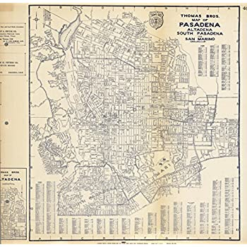 San Marino California Map.Amazon Com Map Poster Thomas Bros Map Of Pasadena Altadena