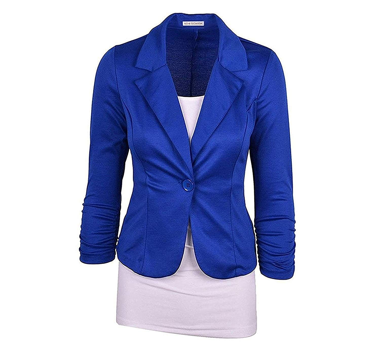 bluee Welcometoo Women's Collarless Work Office Business Casual Cropped Blazer Lady Small Suit