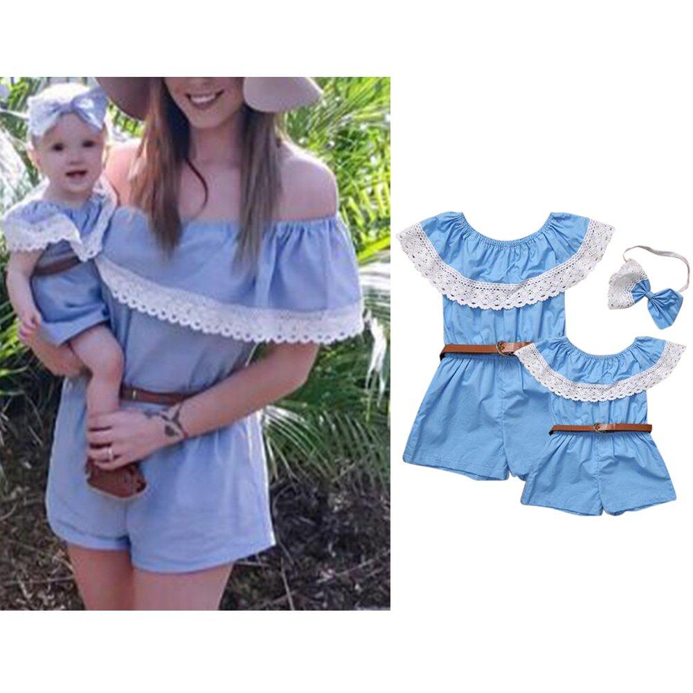 elegantstunning Children Adults Fashion Lace Ruffle Jumpsuit Shorts Summer Siamese Pants Parent-child Clothing