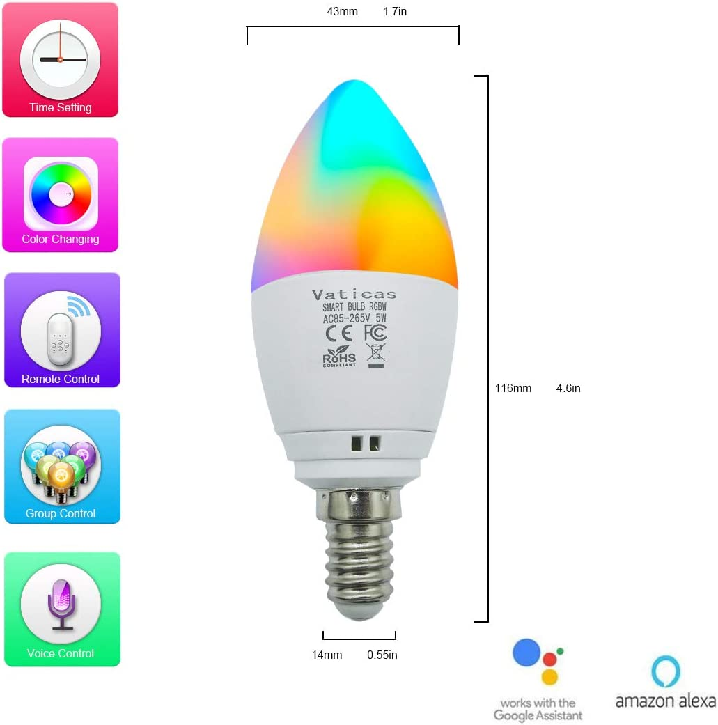 40W Equivalent Smart Light Bulb Candelabra Base,Ceiling Fan Light Bulbs Dimmable LED Candle Bulbs RGBW Bulbs 5W Vaticas E12 Bulb ,WiFi Voice Remote Controlled by Alexa Google Assistant IFTTT,2 Pack
