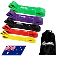 FitRik Skin Friendly Heavy Exercise Resistance Bands Set - 5 Levels Multi-coloured Fitness Workout Bands - Natural Latex…