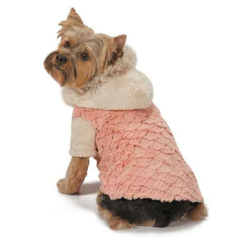 Elements Warm Faux Fur Stylish Jacket For Dogs Available In Rose Or Tan Almond