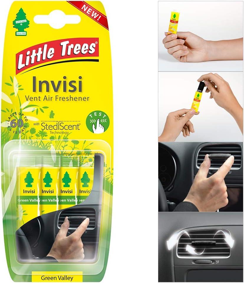 4 X Little Trees Invisi Vent Lufterfrischer Green Valley Duft Auto