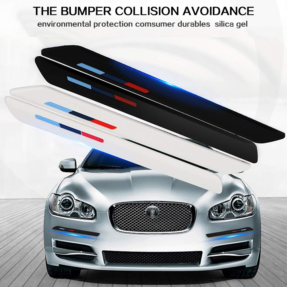 LEIWOOR Car Wheel Wells Fender Eyebrow Edge Trim Protector Rubber Strips Side Bumper Protection Guard Anti-Scratch Corner PAD White Fit Suvs Pickup Truck Curved Black