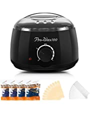 Wax Warmer, Electric Fast-heating Painless Wax Melting Pot for Body Hair Removal with 4 Packs 100g Hard Wax Beans & 10 Waxing spatulas & 10 Waxing Strips