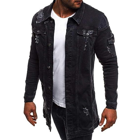 DEESEE(TM)_Men❦Casual Vintage Wash Distressed Denim Jacket ...