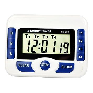 Multifunción 4 canales, digital de cocina Cooking temporizador, temporizador de cuenta regresiva Función de alarma reloj Digital reunión: Amazon.es: Hogar
