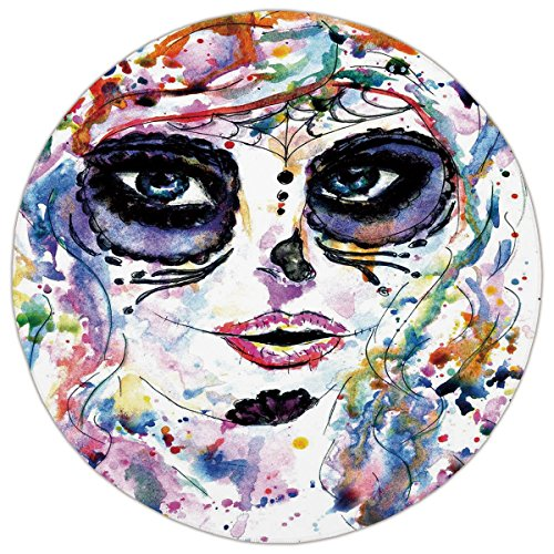 Round Area Rug Mat Rug,Sugar Skull Decor,Halloween Girl with Sugar Skull Makeup Watercolor Painting Style Creepy Decorative,Multicolor,Home Decor Mat with Non Slip (70's Makeup Styles)
