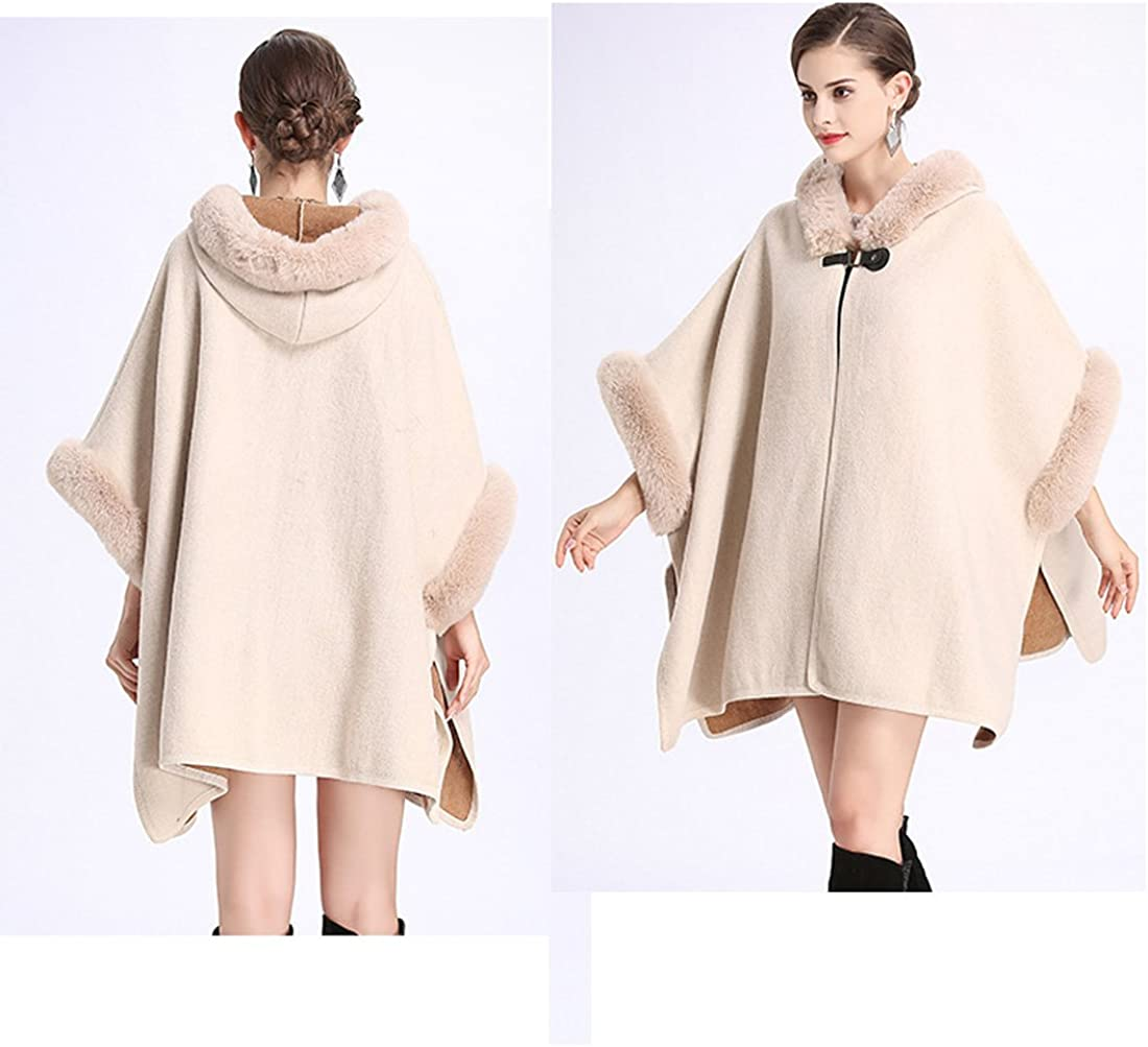Cool/&D Damen Poncho Cape Winter Umhang Tweed Jacken mit Kunstfell Kragen Kunstpelz Stolen