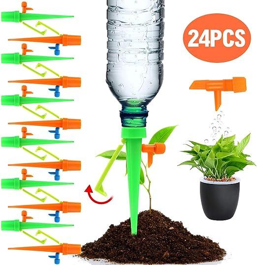 24 Pack sistema de riego autom/ático de vacaciones con interruptor de v/álvula de control regador de plantas para interior y exterior apto para la mayor/ía de botellas