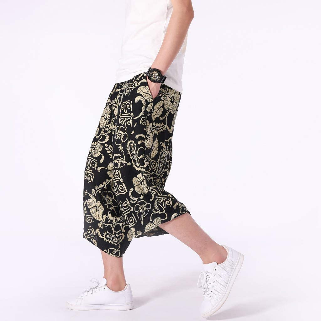 Mens Casual Baggy Cotton Linen Pocket Lounge Harem Pants Beach Long Shorts Lounge Pajama Jogger Yoga Pants