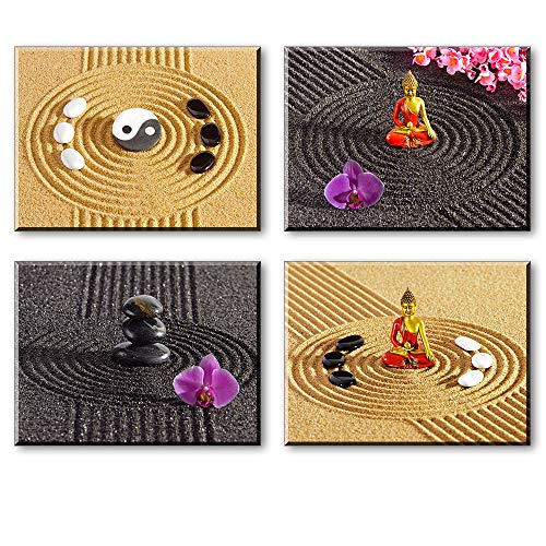 Zen Wall Art for Bedroom, Meditation Tai Chi Buddha Stone Sand Canvas Prints Decor, Spa Massage Treatment Pictures (Waterproof Artwork, Bracket Mounted Ready Hanging, 1