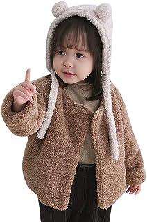 HUIHUI Kinder Baby Kleidung, Herbst Winter Warme Outwear Mantel Winddicht Jacken Mädchen Solid Lange Ärmel Zip Fleece Hoodie Flauschige Coat 0-4 Jahre