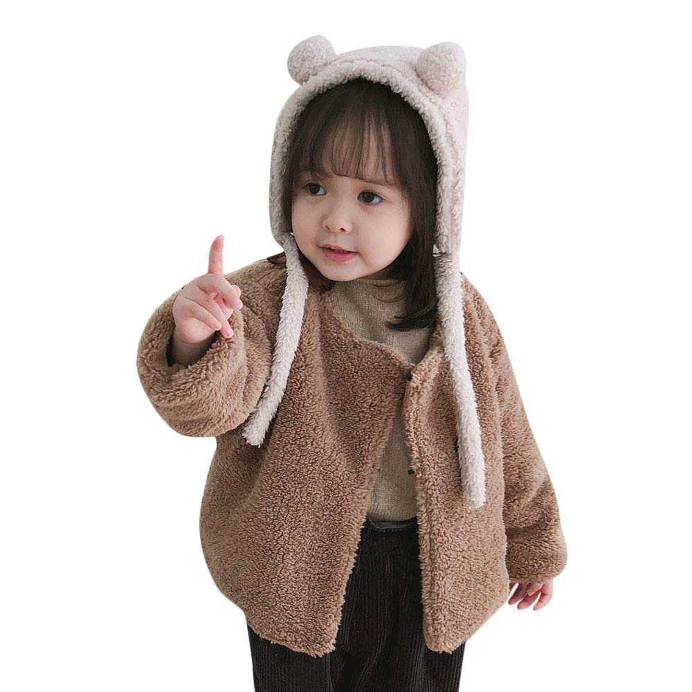 FORESTIME Cute Children Baby Girls Fleece Jacket Fluffy Coat for 2-3 Years Old,Cute Fall Warm Outwear Cardigan Cloak